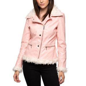 NWT LA Coalition Faux Leather Fur Trim Jacket Pink